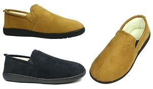 New Men's Classic Moccasin Slipper Rubber Bottom Suede Faux Fur Slip on-0220