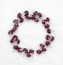 50 Pcs Natural RHODOLITE GARNET 925 Silver Plated Wire Wrapped Link Loose Beads.