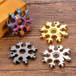 18 in 1 Stainless Steel Pocket Multi-Tool Outdoor Keychain EDC Hex Wrench Tools