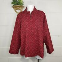 NWT Coldwater Creek Red on Red Leaf Floral Pattern Jacket Size 2X Zip Front $69