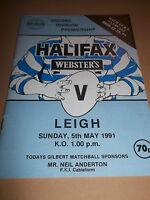 HALIFAX V LEIGH ~ ORIGINAL RUGBY LEAGUE PROGRAMME 1991
