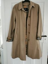 Burberry Trench Coat Womens Vintage Burberrys Beige Nova Check Lined size 12-14