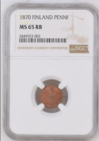 Rare!!! Top Pop in RB! Russia Finland 1870 1 Penni NGC MS65RB