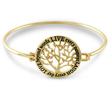NEW Trendy Gold Tone TREE of LIFE Live Love Laugh BRACELET Inspirational Message