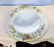 "MIRROR Hand Painted PORCELAIN Italy ROUND 16"" Floral Flowers Wood Back Heavy"