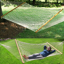 "Extra Wide! 59"" Swing Outdoor New Cotton Rope Double Hammock Bed 450lb Capacity"