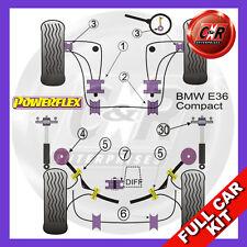 BMW E36 3 Series Compact Fr Caster Adj Non Rr Camber Adj Powerflex Full Bush Kit