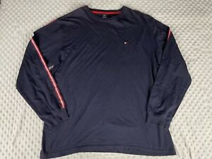 VINTAGE Tommy Hilfiger Shirt Adult Large Navy Spell Out Long Sleeve Men 90s