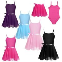 Girls Gymnastics Leotard Dress Ballet Leotard+Tutu Wrap Dance Skirt Dancewear