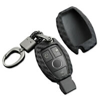 Car Remote Key Fob Black Carbon Fiber Style Case Cover Holder For Mercedez Benz