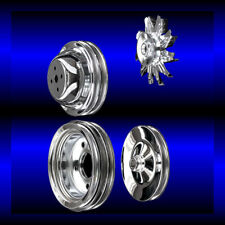 Chrome big block Chevy pulley set 4 pulleys short pump BBC 396 427 454 ac and ps