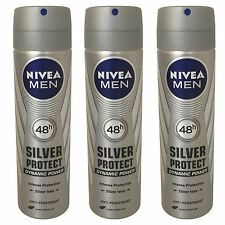 3 x Nivea Silver Protect Dynamic Powe for Men 150ml=5.07oz / Each (Pack of 3)