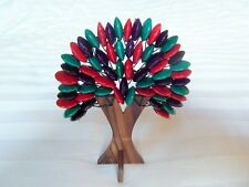 "Balinese Handmade ornamental beaded wooden ""tree of life"" - red/purple/turquoise"
