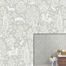 Woodland Animals Grey Wallpaper by Crown - M1168
