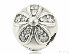 NEW/TAGS AUTHENTIC PANDORA SILVER CHARM DAZZLING DAISIES CLIP #791493CZ