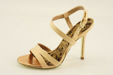 NEW Sam Edelman Abbott Peach Snakeskin Sandals 8.5 Leather Dress Shoes MSRP $150