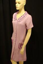 70s Vintage Purple Rayon Day Dress w Soutache Trim 12