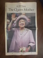 VINTAGE NEWSPAPER DAILY TELEGRAPH APRIL 1st 2002 H.M. THE QUEEN MOTHER DIES