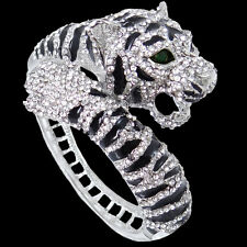 Tiger Clear Black Austrian Crystal Animal Bangle Cuff Silver Tone Women Gift