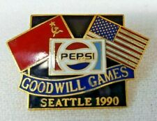 Vintage 1990 PEPSI Seattle Goodwill Games AMERICAN & RUSSIAN FLAGS Lapel Hat Pin
