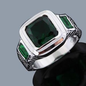 Mens Size 8-12 Jewelry Engagement Emerald 18K Gold Filled Wedding Classic Rings