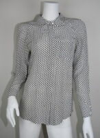 Equipment Femme Black Gray White Silk Button Down Long Sleeve Blouse S 4 6 SM