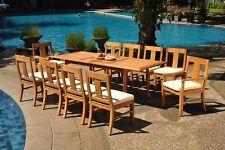 "11pc Grade-A Teak Dining Set 94"" Rectangle Table 10 Osborne Chair Outdoor Patio"