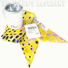 DIOR yellow Leopard MITZAH skinny 2-sided Silk scarf NWT in BOX Authentic $200!