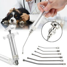 6X Curved Gavage Tubes & 1pc 20ml Plastic Steel Veterinary Feeding Syringe Kit