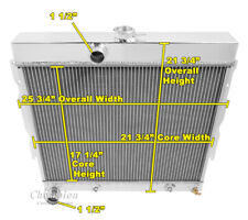 1966-1969 Dodge Coronet Radiator, Polished Aluminum Champion 3 Row Radiator