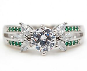 3CT Emerald & Topaz 925 Solid Sterling Silver Ring Jewelry Sz 7