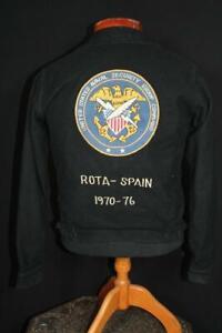 RARE VINTAGE 1970-1976  MILITARY BLACK WOOL ROTA-SPAIN SOUVENIR JACKET EX SMALL