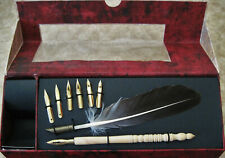 AM Schreibfeder Set Calligraphy Feather & Wood Pen Plume D'Oie Writing Nibs BOX