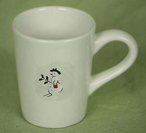 Williams Sonoma Mug Coffee Cup Snowman Lady Red Purse Holly Winter Holiday10 Oz