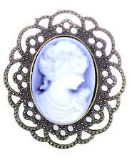 Vintage retro style Victorian lady cameo brooch bag pin