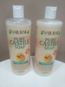 2 ~ Dr. Natural All Purpose Unscented Baby Pure Castile Soap 32 Oz each New