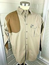 Beretta Mens Shooting Hunting Shirt 100% Cotton Khaki Brown Elbows Large EUC