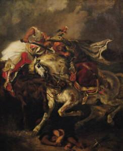 "Oil painting Arab warriors fighting each other knight Melee horsemen horses 36"""