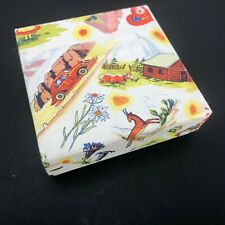 "Vtg Litho Gift Box Austria Classic Car Cabin Farm Lovely 3"" Square Jewelry Box"