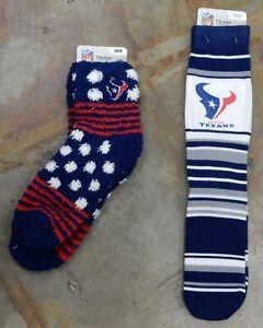 2 Pack NFL Houston Texans Socks Gift Set One Size Sleep Socks Soft Stripes Dress