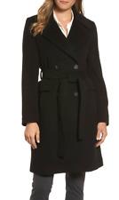 Diana Von Furstenberg Womens Black Double Breasted Coat Sz 2 3759