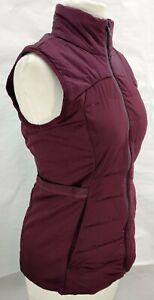 Lululemon Down For It All Vest Size 4 Burgundy Maroon Zip Up