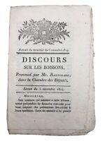 Discours sur les boissons 1814 vente du vin Marseille impôt alcool rare document