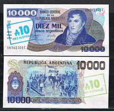 ARGENTINA Billete 10 Australes s/10000 Pesos 1985 Pick#322  S/C  UNC