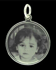 925 STERLING SILVER ROUND PHOTO / TEXT CUSTOM ENGRAVED CHARM OR PENDANT NECKLACE