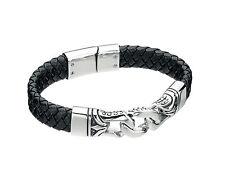 Fred Bennett Black Leather Bracelet Stainless Steel Links Rebel Collection B3897