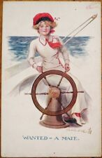 Sherie/Artist-Signed 1910 Glamour Postcard: Sailor Woman, 'I Need a Mate'
