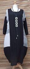 LAGENLOOK* LINEN BEAUTIFUL FANTASTIC BALLOON CRINKLE LONG DRESS*BLACK*Size 44-46