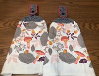 2 Double Sided Crocheted Top Fall  Leaves  Acorns Mushrooms Dish Hanging Towels