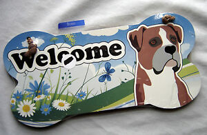 Welcome Boxer Bone Shaped Wall Sign New Sealed Package